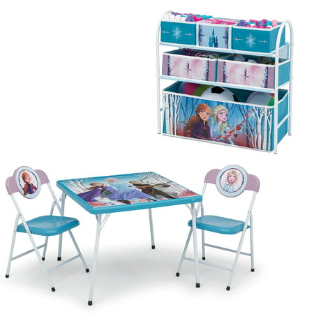 Disney Frozen 2 4-Piece Toddler Playroom Set by Delta Children - Includes Table & 2 Chair Set and Multi-Bin Toy Organizer