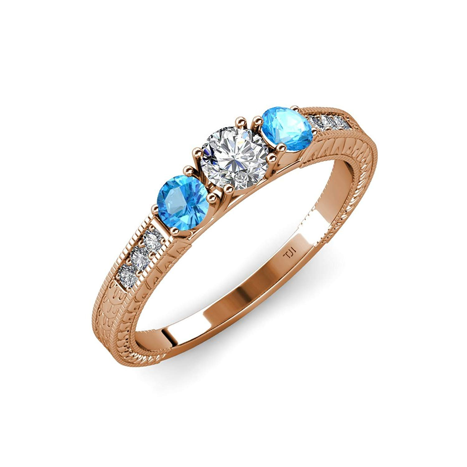 Diamond and Blue Topaz Milgrain Work 3 Stone Ring with Side Diamond 0.85 ct tw 14K Rose Gold.size 5.5 by TriJewels