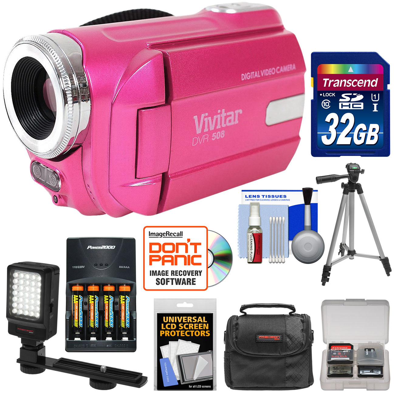 Vivitar DVR-508 HD Digital Video Camera Camcorder (Pink) with 32GB Card + Batteries & Charger + Case + LED Video Light + Tripod + Kit
