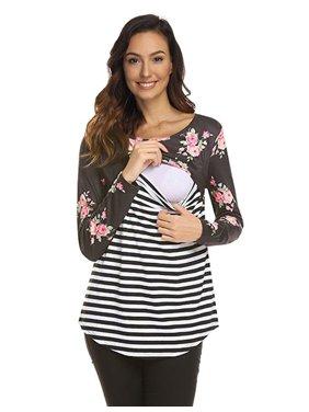 KABOER Women's Maternity Nursing Tops Long Sleeve Striped Floral Printed Stitching Breastfeeding Shirt Blouse