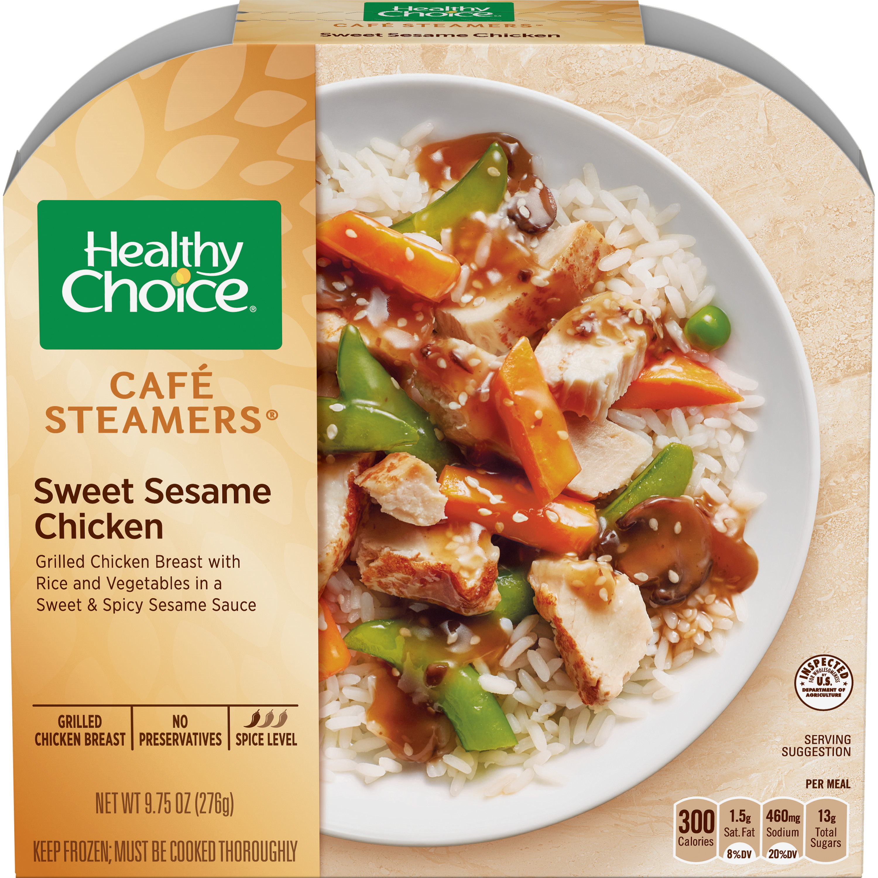 Healthy Choice Cafe Steamers Frozen Dinner, Sweet Sesame Glazed Chicken, 9.75 Ounce