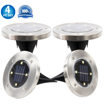 Solar Powered Disk Path Ground Lights - 4 Bright LED's - Flush Flat Outdoor Indoor Waterproof Garden Landscape Spike Yard Disc Lights - 4 Pack Bright White ()