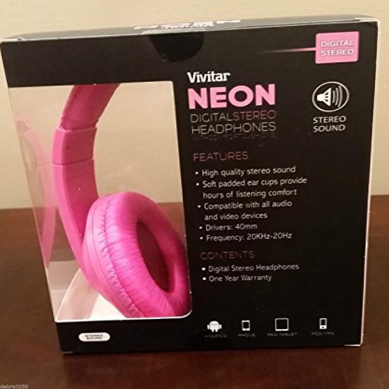 Vivitar Neon PINK Digital Stereo Headphones with Comfort Cushions