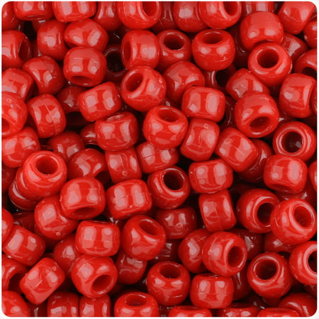 BeadTin Red Opaque 9mm Barrel Pony Beads (Red Jasper Nugget Beads)