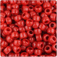 BeadTin Red Opaque 9mm Barrel Pony Beads (500pc)