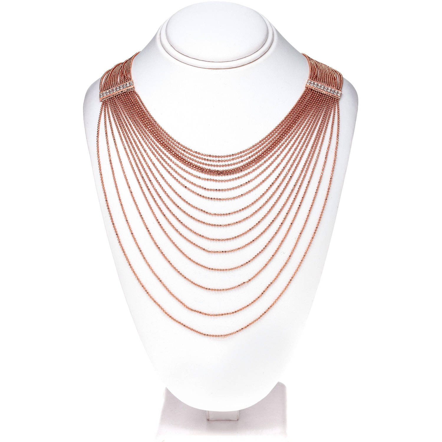 X & O Handset Austrian Crystal 14kt Rose Gold-Plated Rectangle Drape Chain