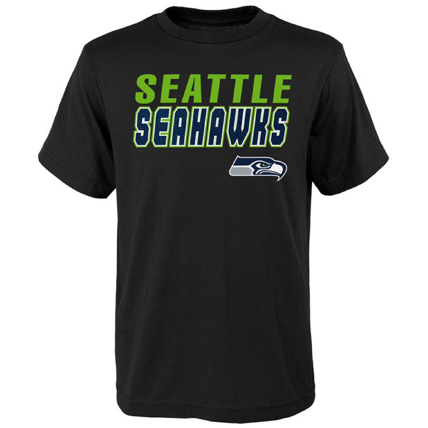 Youth Black Seattle Seahawks Outline T-Shirt