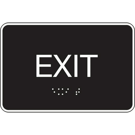 """EXIT"" Sign, 6"" x 9"" Molded Plastic ADA Compliant Grade 2 Tactile Braille, Black & White w Self-Adhesive ( 843480) - Pack of 3 Signs"