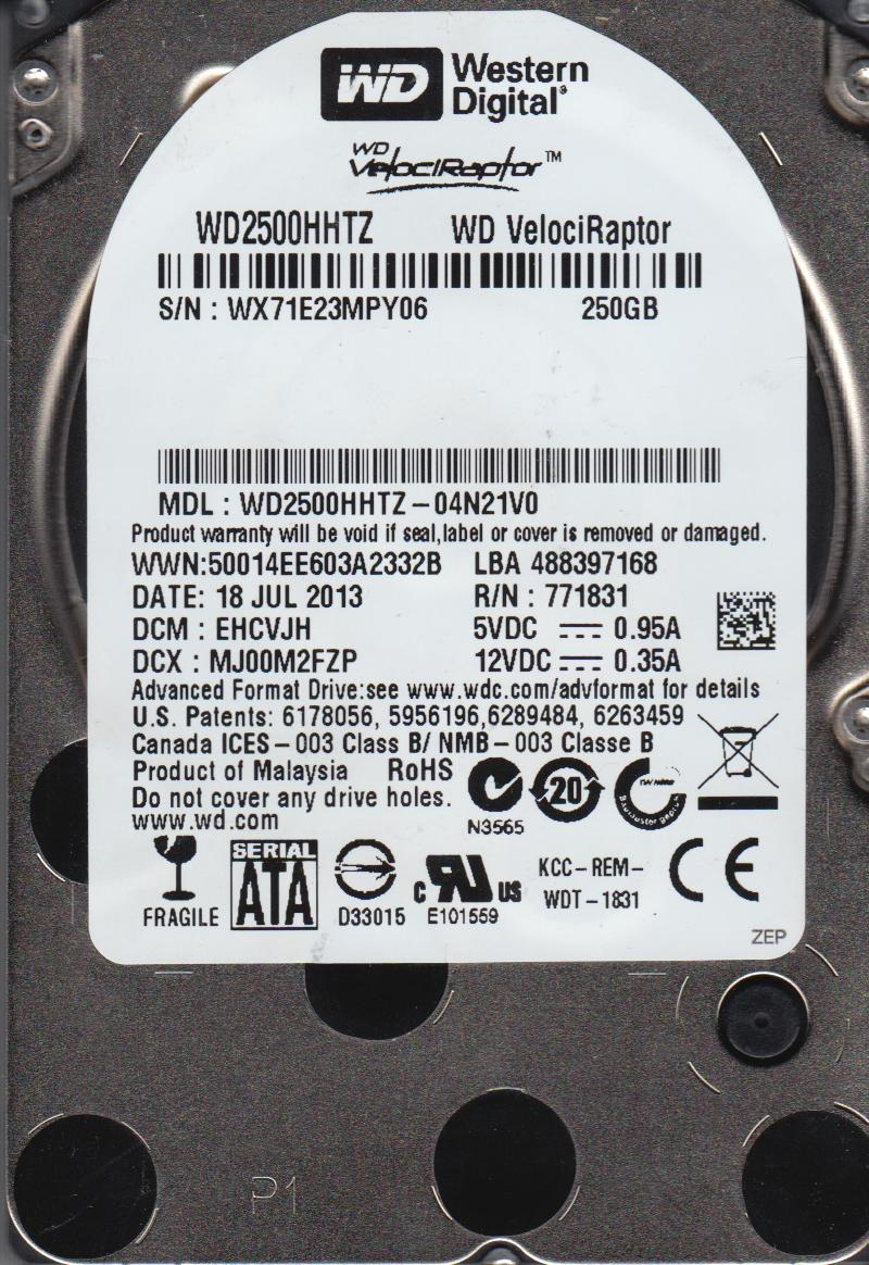 WD2500HHTZ-04N21V0, DCM EHCVJH, Western Digital 250GB SATA 2.5 Hard Drive by Western Digital