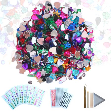 CozYours 600 pcs Acrylic Flatback Rhinestones & 1080 pcs Self-Adhesive Rhinestone Stickers∣ Embellishments for Crafts
