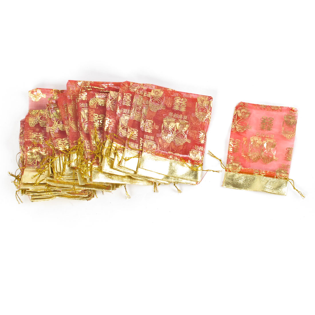 50 Pcs Red Gold Tone Bride And Bridegroom Print Wedding Organza Gift Bag