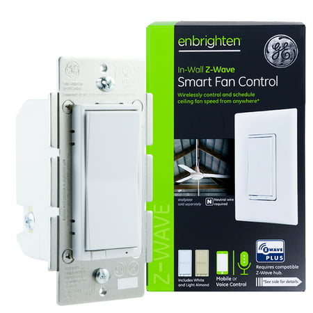GE Enbrighten Z-Wave Plus In-Wall Smart Fan Speed Control, Z-Wave Hub & Neutral Wire Required, 14287