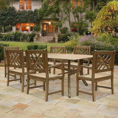 Vifah V1300SET3 Renaissance Rectangular Table & Armchair Outdoor Hand-scraped Hardwood Dining Set