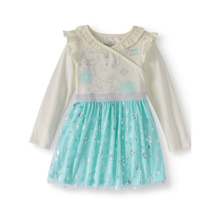 Long Sleeve Double Ruffle Neckline Tulle Skirt Tutu Dress (Toddler Girls)