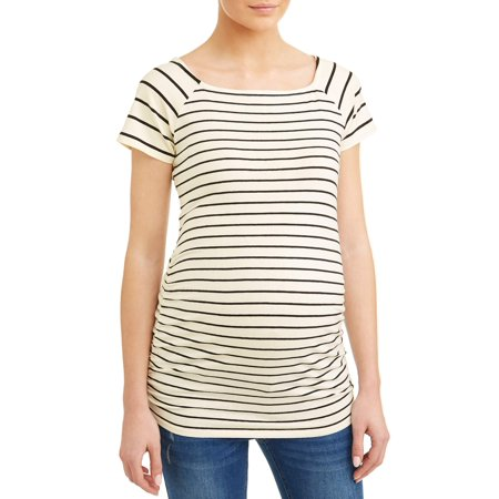 Oh! MammaMaternity stripe square neck side ruched knit top - available in plus sizes