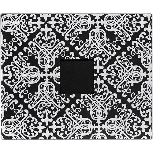 Patterned D-Ring Album 12 Inch X 12 Inch-Black & White Damask