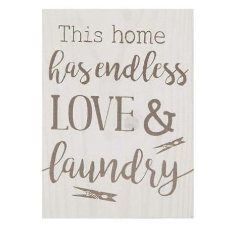 THIS HOME HAS ENDLESS LOVE & LAUNDRY Distressed Wood Block Sign, 5.5