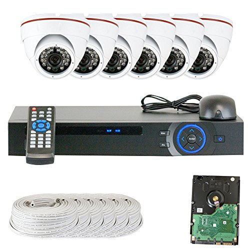 GW Security Inc VD6CHC6 8-Channel HDCVI DVR Camera System with 6 x 1/2.9 Inches HDCVI Color IR CCTV Security Camera