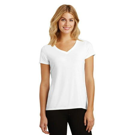 District Made DM1350L Ladies Perfect Tri V-Neck Tee, White, (Xs Spa)