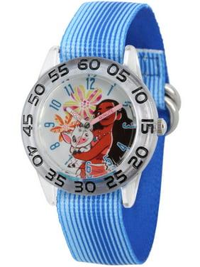 Moana and Pua Girls' Clear Plastic Time Teacher Watch, Blue Stripe Stretchy Nylon Strap