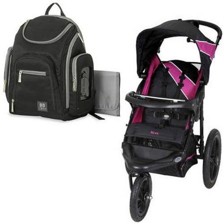 Baby trend xcel jogging stroller, raspberry with Diaper Bag Value Bundle
