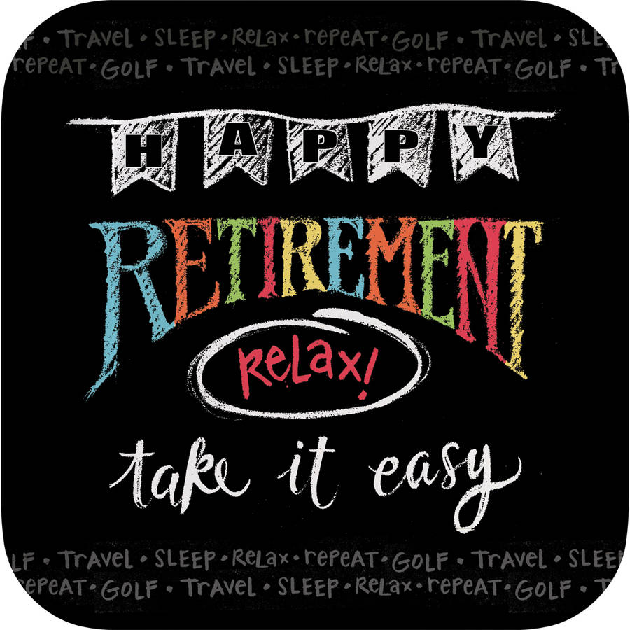 Retirement Chalk Dessert Square Plates, 8pk