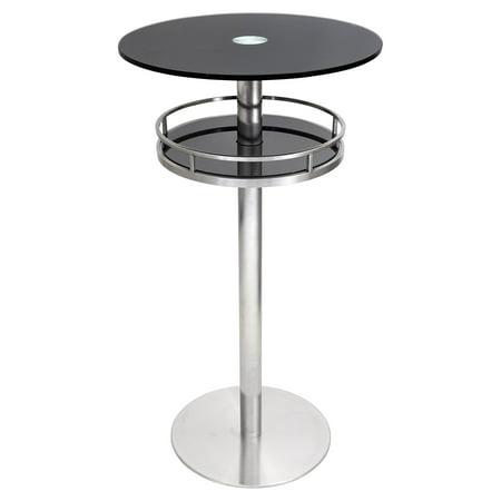 LumiSource Cora Round Pub Table – Black