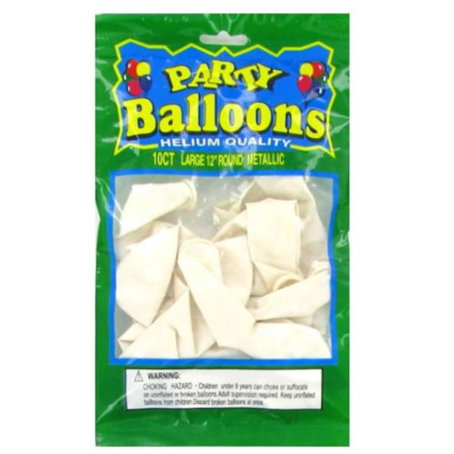 Deluxe Import Trading 4-NL5347 12 in.  White Metallic Balloons - 48 Packs