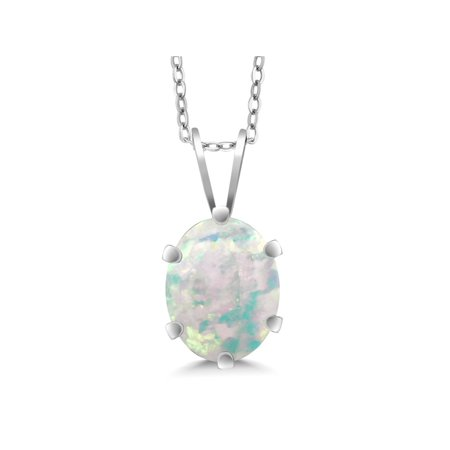 1.60 Ct Oval Cabochon Shape White Simulated Opal 925 Silver Pendant ()