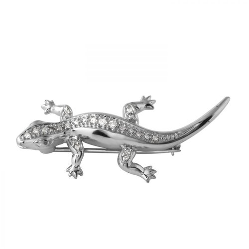 Foreli 0.25CTW Diamond 14K White Gold Brooch by Generic