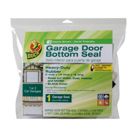 Duck Garage Door Bottom Seal for Two Car Garages, Black, 2 In. x .25 In. x 18 Ft. (Garage Door Bottom Insulation)