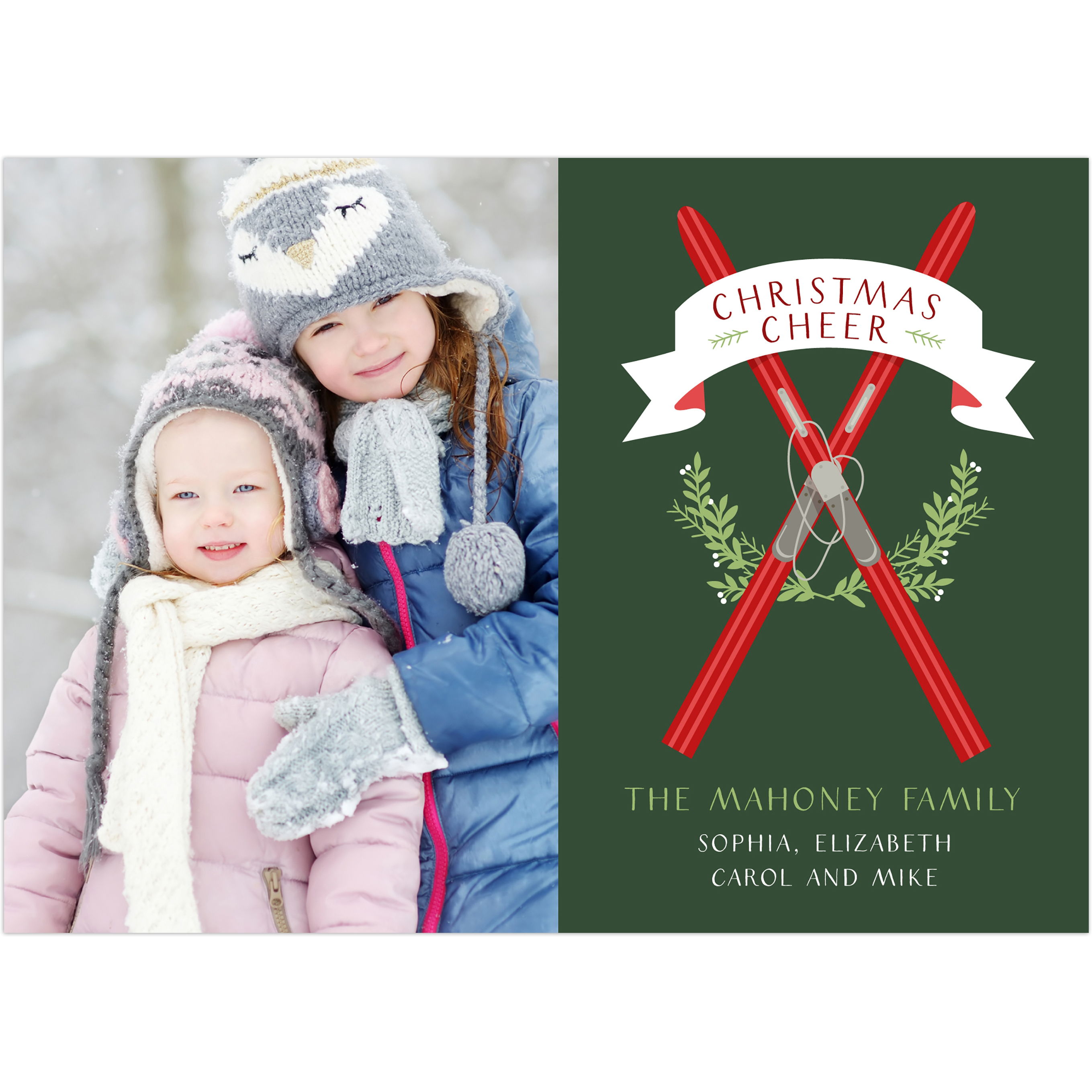 Ski House - 5x7 Personalized Christmas Card