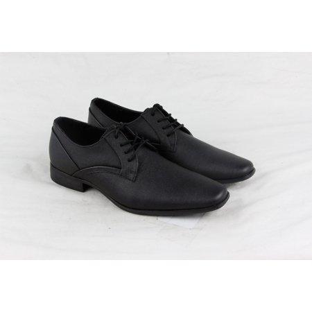 Calvin Klein Benton Weave Emboss Mens Black Leather Lace Up Oxfords Shoes
