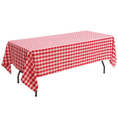 "Gymax 10Pcs 60""x126"" Rectangular Polyester Tablecloth Red & White Checker Party - image 2 of 10"