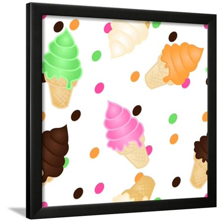 Seamless Ice Cream Pattern Framed Print Wall Art By