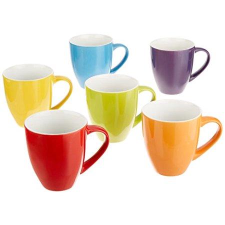Bruntmor 16 Ounce Ceramic Coffee Mugs Large Solid Set Of 6
