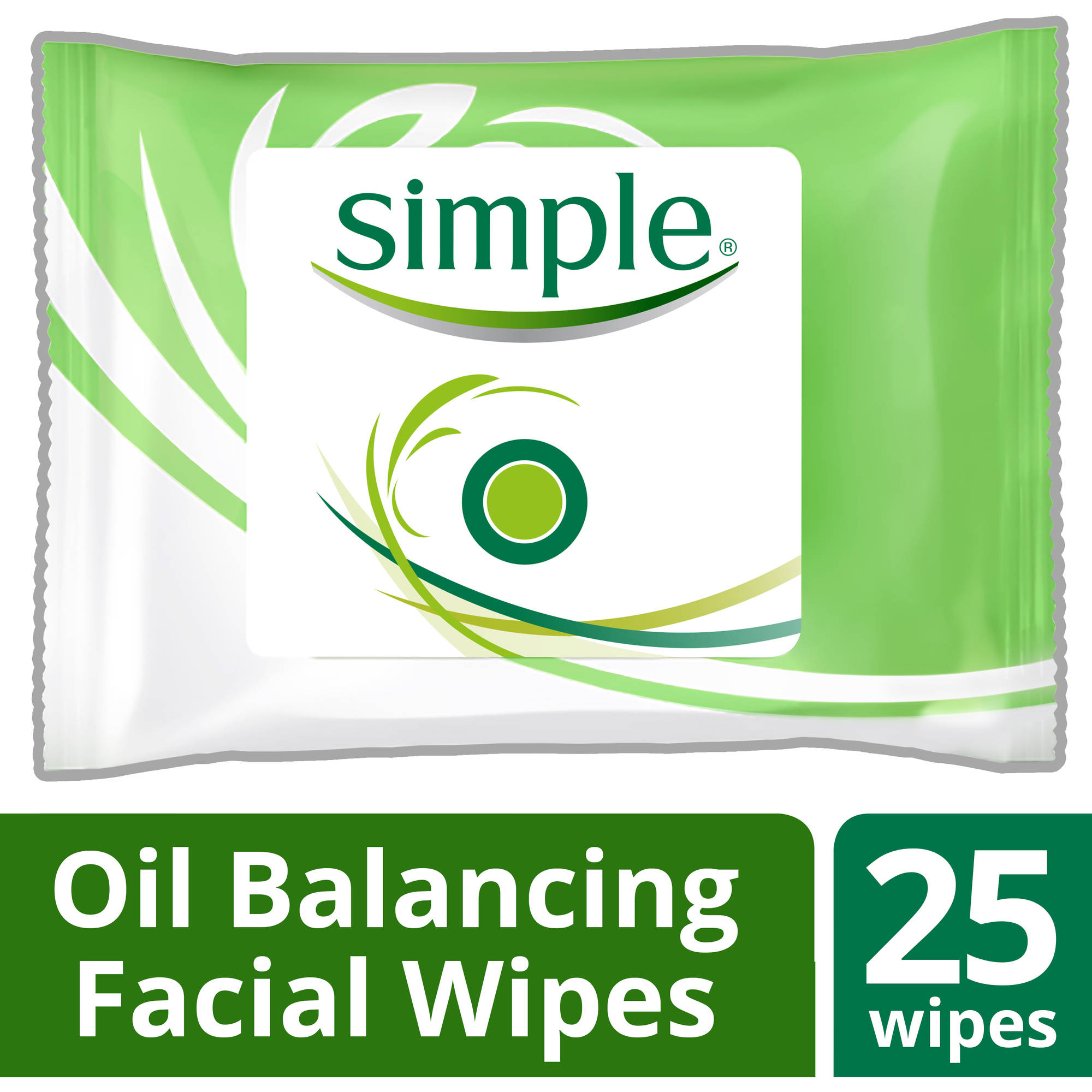 Simple Oil Balancing Cleansing Facial Wipes, 25 ct