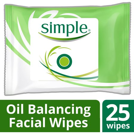 Simple Oil Balancing Cleansing Facial Wipes  25 Ct