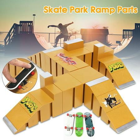 Yellow Skate Park Ramp Parts for Fingerboard Finger Board Parks Amateur Kids Childrens Birthday Gift