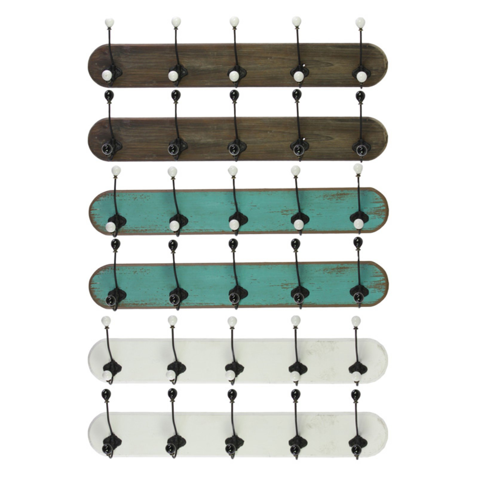 Well-Made Assortment Of 6 Large Assorted Wood Coat Hangers