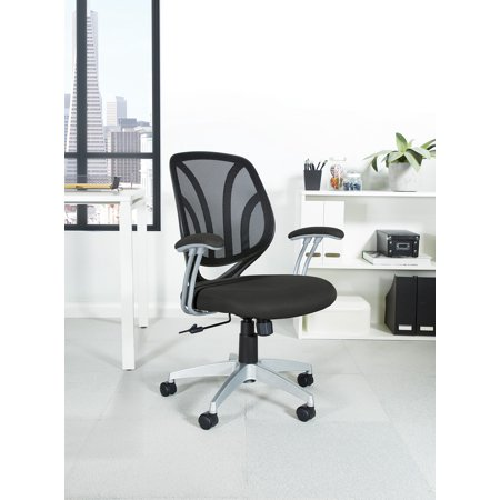 Work Smart™ Screen Back Chair with Black Mesh Fabric and Silver Coated Arms and Base](Halloween Scream Chair)