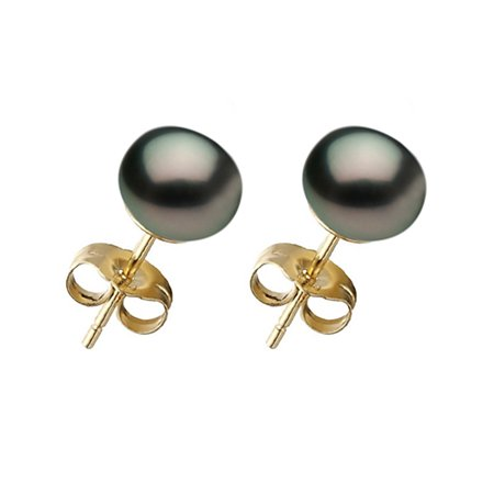 BORA BORA COLLECTION Black Pearl Stud Earrings on 14K Yellow Gold Filled Posts 14k Gold Fill Earrings