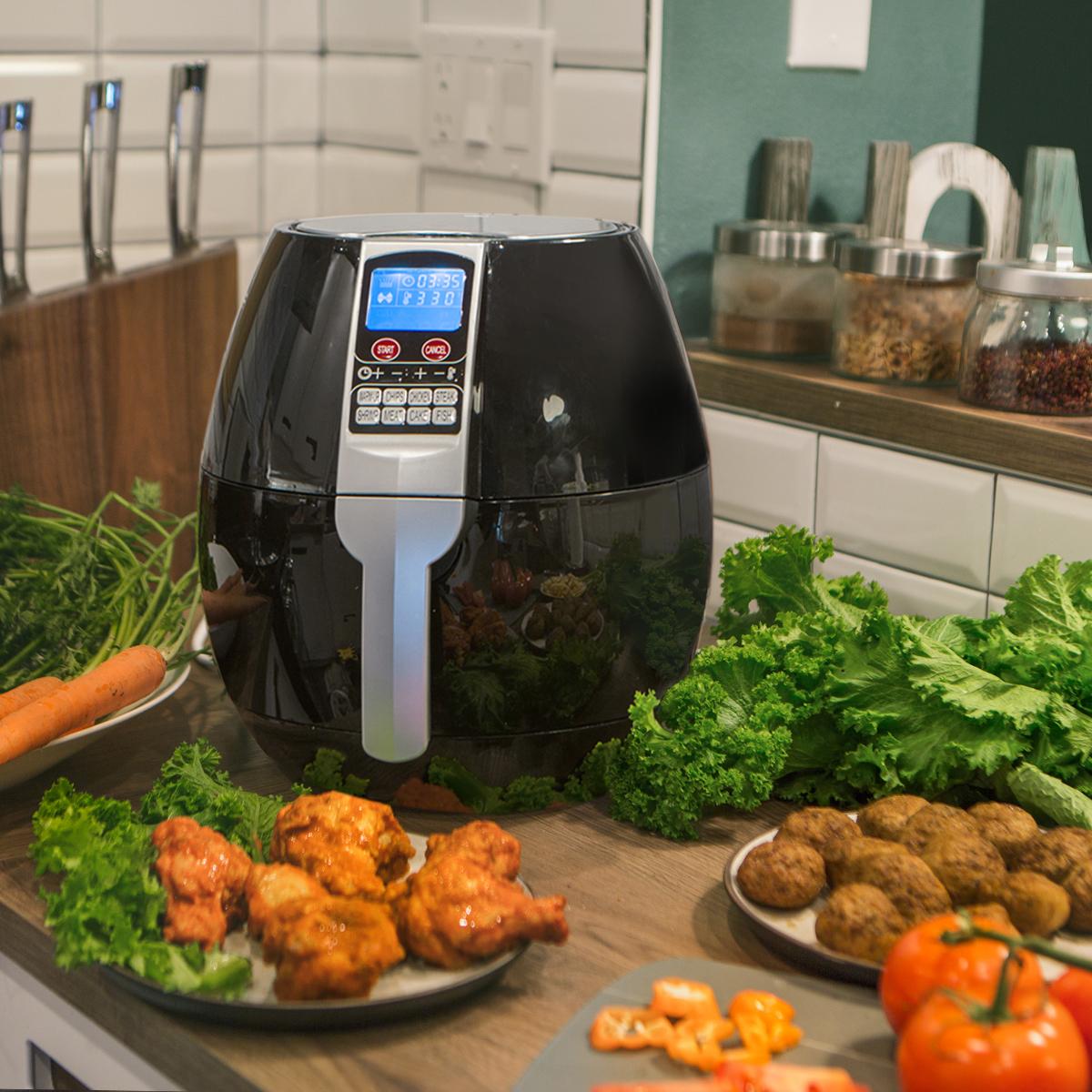 3.7QT Electric Air Fryer 8-Cooking Setting Digital LCD Display, Black