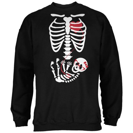 Halloween Baby Geek Girl Glasses Skeleton Black Adult Sweatshirt