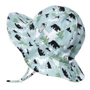 Jan & Jul Infant Boy Sun-Hat, Stay-on Chin-Strap with Safety Clip (S: 0-6 months, Bear)
