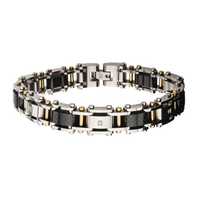 Inox Mens Stainless Steel Solid Carbon and Gold IP with Clear CZ Link Bracelet 875 inch long