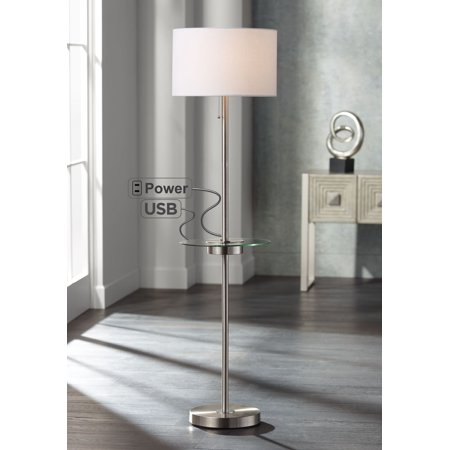 360 Lighting Modern Floor Lamp with USB and AC Power Outlet on Table Glass Satin Steel White Fabric Drum Shade for Living Room