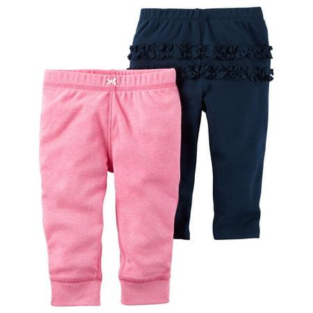 Carters Baby Girls 2-Pack Babysoft Neon Pants Ruffle Navy/Pink (Neon Noodle)