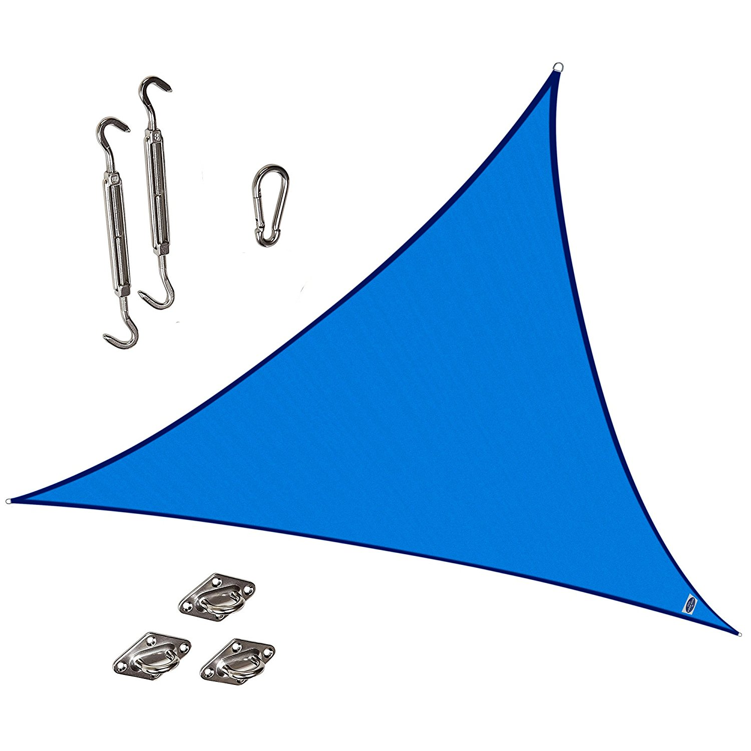 Cool Area Triangle 16 Feet 5 Inches Durable Sun Shade Sail with Stainless Steel Hardware Kit, UV Block Fabric Patio Shade Sail in Color Silvery