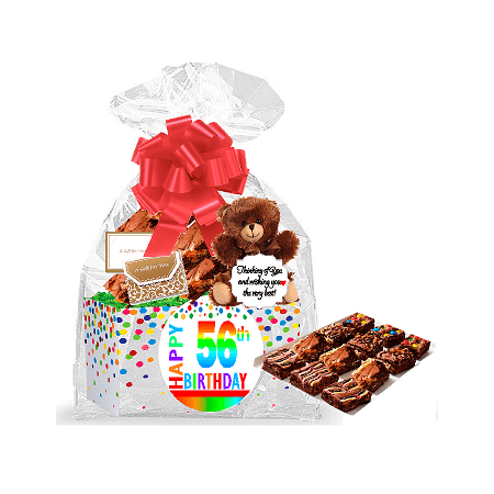 56th Birthday / Anniversary Gourmet Food Gift Basket Chocolate Brownie Variety Gift Pack Box (Individually Wrapped) 12pack